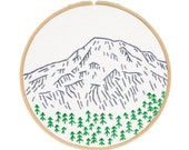 MOUNT RAINIER embroidery kit - hand embroidery kit, embroidery hoop art, travel souvenir, national parks, nature embroidery kit by StudioMME