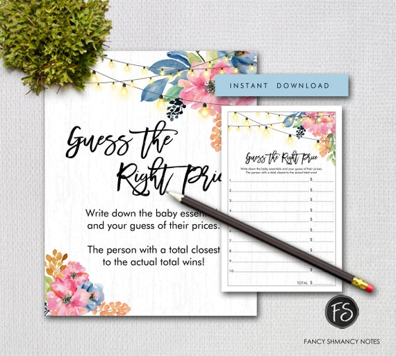Rustic Baby Shower Guess The Right Price Printable Baby Shower Game