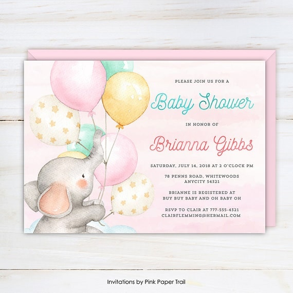 Elephant girl baby shower invitation cute baby girl elephant with il570xn filmwisefo