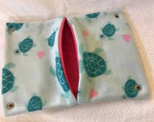 """Ready to Ship! 12""""x16"""" Pocket Hammock for Pet Rats, Ferrets - All Fleece Teal Turtles with Bright Pink Interior"""