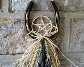 Handmade Harvest Wheat, lavender & Oat lucky Pentacle Horseshoe. Handfasting / Home Blessing Gift.