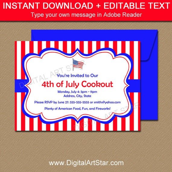 Patriotic invitations cookout invites printable 4th of july il570xn maxwellsz
