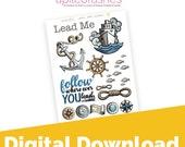 Lead Me Digital Download Printable Bible Journaling, Margin Stickers, Bookmarks, Sticker Printable
