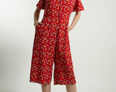 Culotte pants jumpsuit handmade in Rayon red /pink flower print