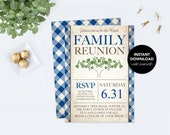 Family Reunion Invite, Tree, Blue, Printable Editable Invitation, Family Picnic, Instant Download, Digital Editable, Family BBQ Summer Party