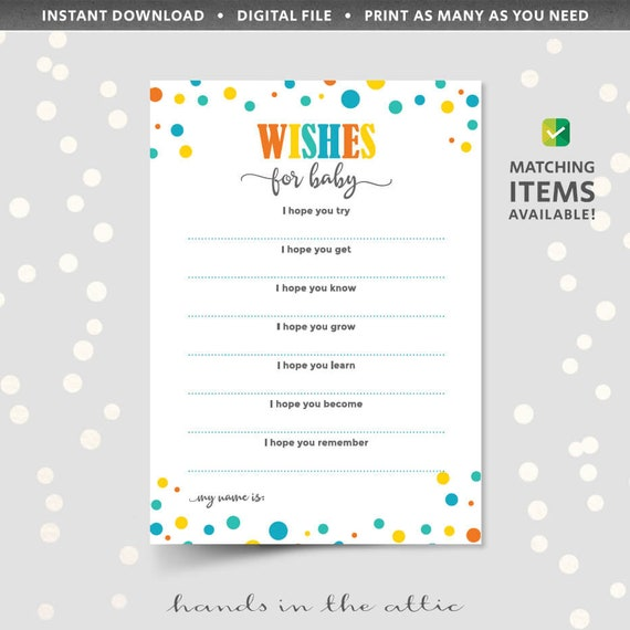 Wishes for baby printable template baby shower party games and il570xn maxwellsz