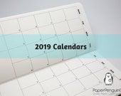 2019 Monthly Calendar Midori Insert Regular A5 B6 Wide A6 Personal Pocket FN Passport 12 Month Plain Kraft Brown Traveler's Notebook