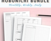 A5 Hobonichi Cousin Style Bullet Journal   Fauxbonichi   Printable Gridded Weekly Hourly Planner Inserts   Undated Vertical WO2P