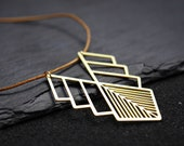 Leather necklace with geometric charm