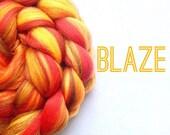 Blended Merino Wool Top / Roving - BLAZE - 100g / 3.5oz - felting, spinning, weaving, needle felting