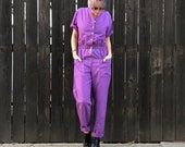 Purple Vintage Jumpsuit- Short Sleeve Jumpsuit- 80s Playsuit- 1980s Romper- Festival Clothing- XS SMALL