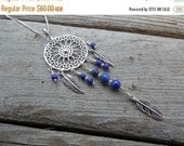 ON SALE Dream catcher necklace handmade in sterling silver with Lapis beads