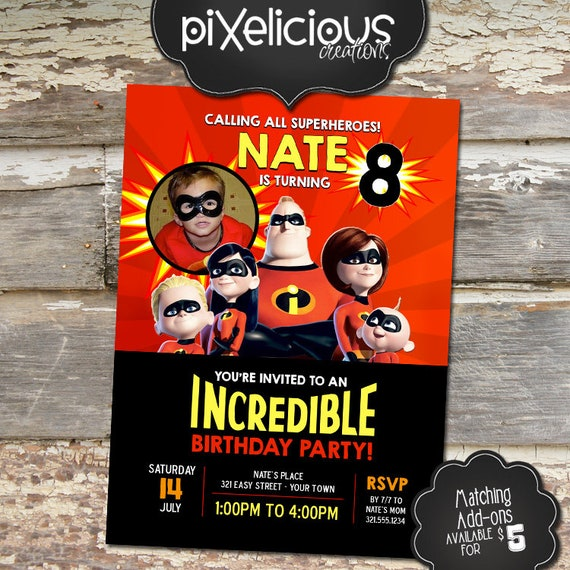 Incredibles custom printable birthday invitation digital file we il570xn filmwisefo