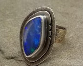 Reserved for Elise  THREE PIECES Ammolite Ring Opal Ring Natural Romantic with Labradorite Payment One of Two