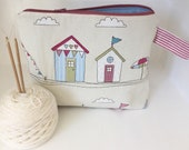 Knitting project bag / make up / crochet project bag / sock knitting project bag summer beach huts