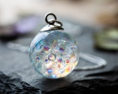 Fairy Necklace - Sterling Silver - Rainbow Bubbles, Bubble Jewelry , Fairy Jewellery, Blowing Bubbles , Gifts for Her , Resin Necklace