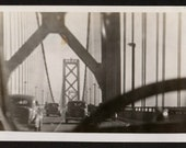 Vintage Photo Through Car Windshield Going Over Golden Gate Bridge 1930's, Original Found Photo, Vernacular Photography
