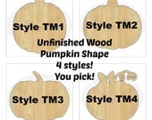 Pumpkin - 01684- Unfinished Wood Laser Cutout, Wreath Accent, Door Hanger, Ready to Paint & Personalize, Various Sizes and Shapes