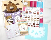 Anniversary Sale Bundle - Coffee Planner Stickers - Donut Planner Stickers - Cat Hard Enamel Pin - Car Decal - Donut Clay Charm - Coffee Kit