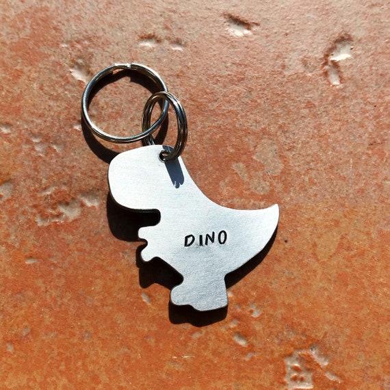 T-Rex Dinosaur Dog ID Tag, Hand Stamped Tag, Hand Cut Copper, Brass, Aluminium