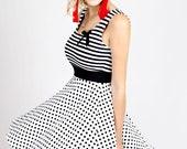 """MEKO """"Patty"""" Kleid Damen Schwarz Streifen Punkte Tupfen ärmellos Dress Black Stripes Dots sleeveless"""