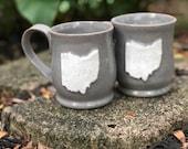 Reserved for Melissa Closser // Pair of Ohio Mugs, Grey, 14 ounce, Oversized Mug, Columbus, Cleveland, Handmade Mug, Farmhouse Mug