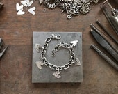 Custom Order for Wendy - Sterling Silver Hand Cut Heart Charm Bracelet Vintage Recycled Silver Adjustable Heavy Cable Chain