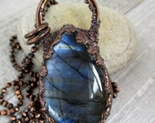 Labradorite Teardrop Necklace, Flashy Natural Stone Pendant, Electroformed Copper,  Unique Handmade Pendant and Chain