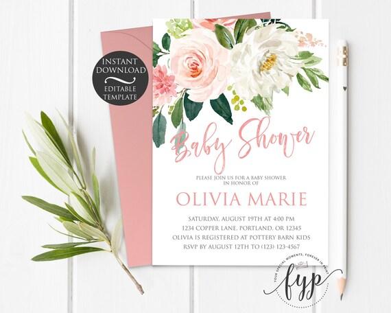 Baby Shower Invitation Girl Editable Invitation Template By - Baby shower invitations templates editable girl