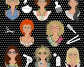 INTRO-OFFER - Marianne and her HAIR-Dos - save 20% - includes both design packs - a total of 16 designs, 8 Hair-styles in each 2 sizes