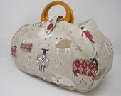 Large project bag. Sheep fabric knitting bag.