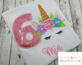Custom Girls Unicorn Birthday Shirt ~ Monogrammed, Applique, Embroidered ~ Many sizes available!