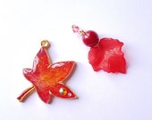 Red Early Autumn Maple Leaf Enchanted Forest Charm; TN Charm; Key Ring; Bag Charm; Planner Charm