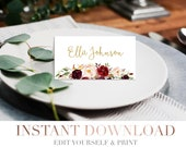 Printable Floral Wedding Escort Cards // Modern Wedding Name Place Cards // Marsala White Wedding // Stationery // Gold Burgundy // Templett