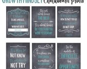 Growth Mindset Posters, Chalkboard Printables, Set of 6, Growth Mindset, Classroom Decor, Printable, Farmhouse Style, Printable Quotes