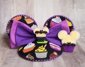 Glow In The Dark Halloween Cupcakes Mouse Ear Fascinator FascinEar with Matching Brooch