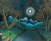 Original Drawing Print- blue mountains, road to the moon & starry night sky, winter trees, lighted path (wall art/giclee/matted print)