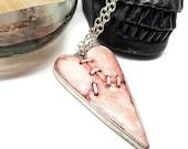 Halloween Stitched heart necklace, Broken Heart necklace, stitched skin necklace, gore jewelry, Hannibal, Hellraiser