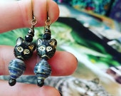 Vintage Kitty Cat Glam Book Paper Bead Earrings with Cat Glass