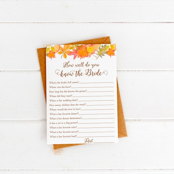 How Well Do You Know The Bride Game Fall Bridal Shower Printable