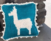 Alpaca Pillow PDF DIGITAL DOWNLOAD Tunisian Crochet Pattern, crochet pillow pattern with alpaca shape, home decor, tunisian video tutorial