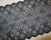2m schwarze elastische Spitze 19cm breit