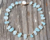 Aqua Cultured Sea Glass Anklet, Non Metal Jewelry Only Zinc, Crochet Mermaid Beach Bride, Hippie Ocean Lovers Gift, Made in Maui Hawaii
