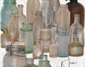 Dirty Old Bottles digital scrapbooking graphics kit / clipart / altered art / mixed media collage / instant download / printable