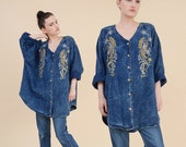 80s Oversized Denim Shirt | size L XL | Stone Wash Jean PAISLEY Beaded Embroidered Top Button Down Plus Size Shirt |