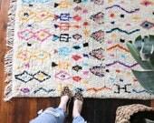 "vintage Moroccan rug, abstract modern rug, happy bohemian colorful wool rug, area rug 8'9""x4'4"""