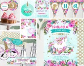 Young Wild and Three Unicorn Invitation and Unicorn Decor - Girls 3rd birthday - Pink Teal floral - Unicorn 3rd Birthday - Instant Download
