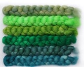 Hand dyed roving -  Silk / Merino wool 20/80% spinning fiber - 6.5 ounces - Floating on the River
