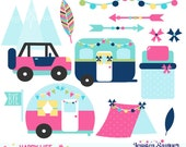 INSTANT DOWNLOAD, Camping Clipart with trailers and accents