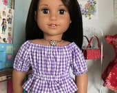 "18 inch  ,18"" doll clothes- Purple and white gingham  peasant top."